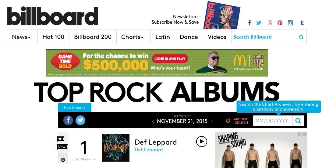 Def Leppard's latest debuts at #1 on The Billboard Top Rock Albums chart!