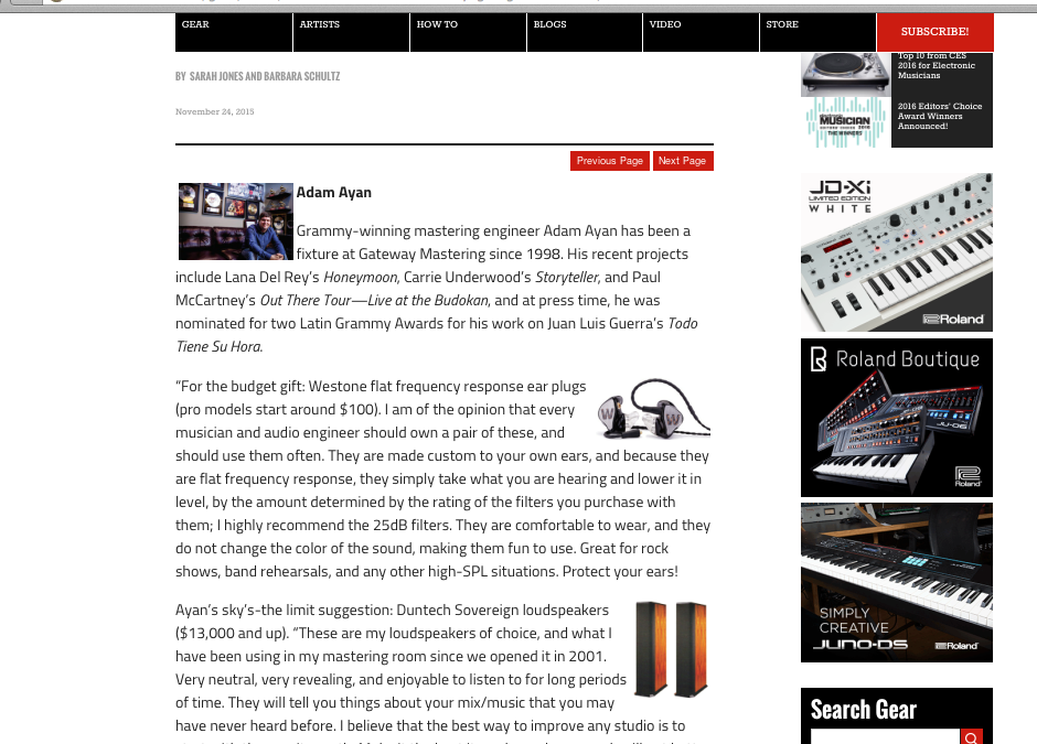 "Adam Ayan was interviewed for Electronic Musician's ""Rockstar Holiday Gift Guide""."