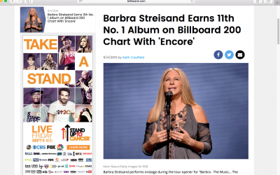 Adam Ayan masters Barbra Streisand's latest, and it debuts at #1!